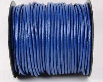 5 feet Dark Blue Leather Cord - 3mm Genuine Leather Round Cord - USA Seller