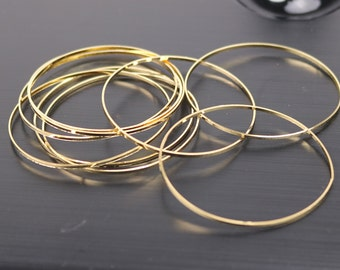10 pcs Gold Ring Circle - 50mm x 1.2mm (2 inch) - 24K Gold Plated Ring Circle Link Connector Closed Jump Rings - ship from California USA