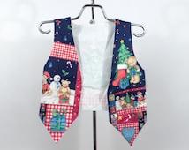 Ugly Christmas Vest Vintage Kid's Holiday Snowmen Girls Boys Children's