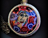 Pendant Necklace , colorful , handmade, one of a kind