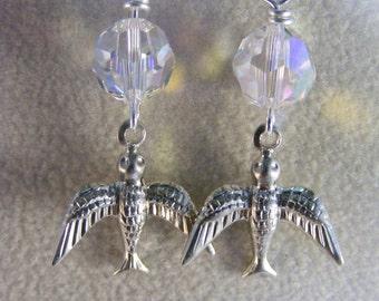 Swarovski Crystal Swallow Earrings