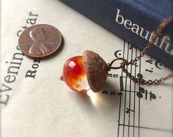 Glass Acorn Necklace - Tomato Soup  by Bullseyebeads  READY TO SHIP