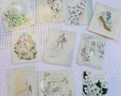 The Vintage Bride and Bouquet in Vintage Wedding Card Lot No 26 Total of 10 cards Pastels Bride and Groom Wedding Dress