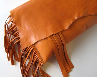 LEATHER Large Oversized Huge Clutch Bag Purse Shoulder Strap Cross Body - Raw, Rustic with Raw Edge & Fringe - Slouchy Orange Fringe