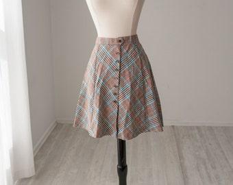 60s Plaid Wool Skirt MOD Small