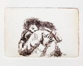 give someone a hug - original etching, warm embrace