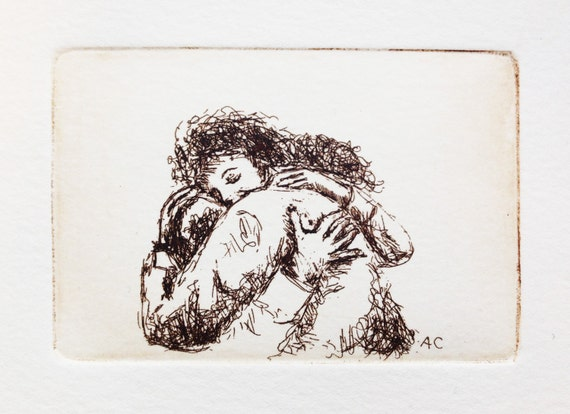 give someone a hug - original etching, warm embrace