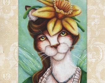 Daffodil Fairy Calico Cat Flower Fantasy Art 5x7 Print CLEARANCE