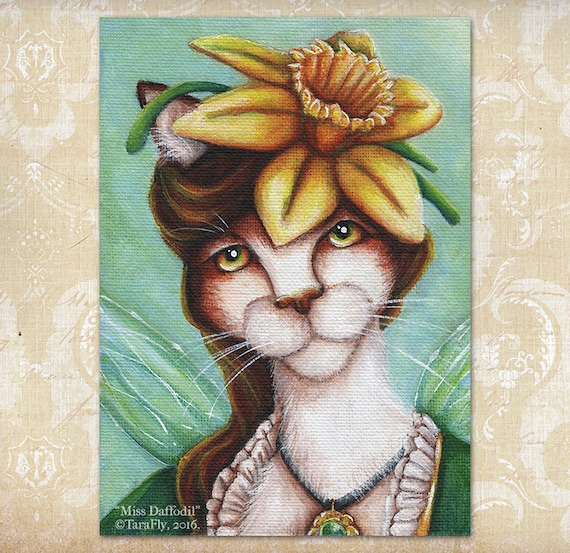 Daffodil Fairy Calico Cat Flower Fantasy Art 5x7 Print CLEARANCE