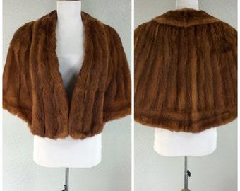 Vintage 1950s Red Mink Caplet Stole Shrug Jacket