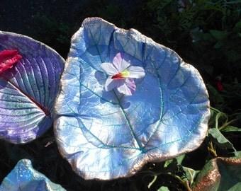 "Concrete leaf Birdbath / Bird Bath / garden sculpture stands over flowers, created in cement from a live Catalpa leaf (No. 6500, 9hx8h"")"
