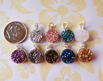 Shop Sale .. 1 5 10 25 pc, Druzy Pendant Druzy Charm Drusy Agate, Sterling Silver or 24k Gold Plated, 11 mm, u pick gcp10 gp ll ap31.2