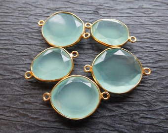 Sale... 1 2 5 pc, CHALCEDONY Gemstone Connectors Links, AQUA, Bezel Set, 20-25 mm, 24k Gold Plated or Sterling Silver, gc gcl8 ll
