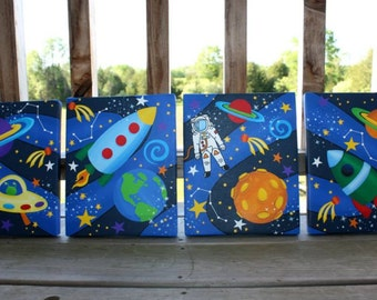 Set of 4 Outerspace Stretched Canvases Baby Nursery CANVAS Bedroom Wall Art 4CS018