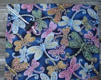 Drawstring Bag - Dragonfly - Navy - Drawstring Pouch - Small Drawstring Bag - Small Drawstring Pouch - Dragonflies