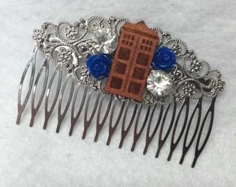Doctor Who Wedding Hair Comb Geek Nerd Tardis