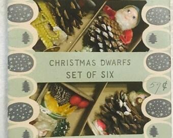 Vintage Christmas Shiny Brite PINE CONE & CHENILLE Dwarf Ornaments Elves Gnome in Box Rare