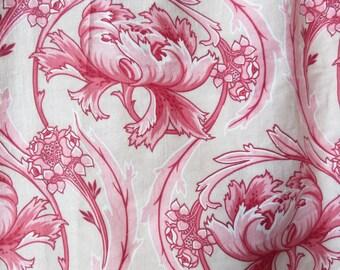 Stunning Vintage French Art Nouveau Fabric & Pelmet, Cotton Cretonne Curtains Drapes, Paris Apartment Boudoir Chic Textiles, Belle Brocante