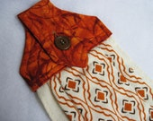 Button top towel  fall print rust gold  towel Quiltsy Handmade 2
