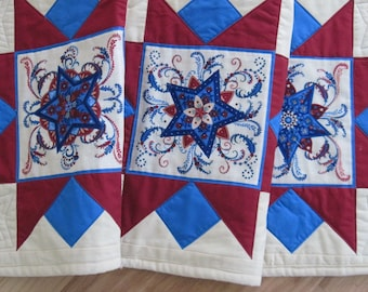 Quilted  table runner Stars patriotic  red white blue  Quiltsy handmade