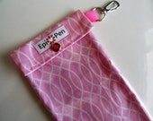 Clearance Sale Epi Pen Pouch Easy to View Clear Front with Swivel Clip 4x8 Holds 2 Auto Injector Pens ID Card - Pink Waves