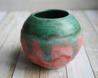 Round Ceramic Vase in Dripping Copper Green and Textured Rose Handcrafted Flower Vase Made in USA
