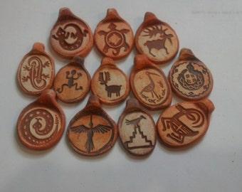 Collection of 12 Rock Art Ceramic Pendants