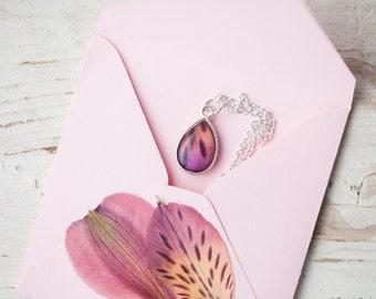 Wild Orchid Teardrop necklace - Silver Teardrop necklace - Violet drop necklace - Violet silver necklace - Tiny Necklace (N107)