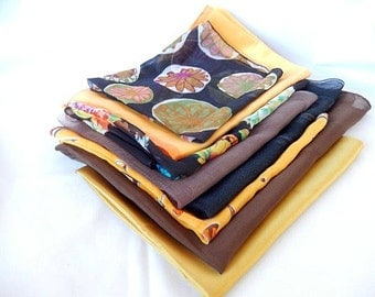 vintage scarf lot, 8 scarves, sheers, nylon, silk, Japan, hand rolled edges, 1950's, vintage accessories, arts and crafts supplies