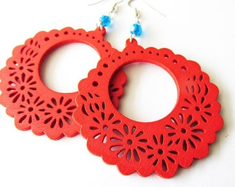 Red Wooden Floral Hoop Earrings with Blue Glass Beads