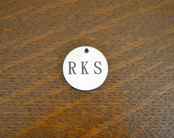 Your initials Custom Laser Engraved Stainless Steel Charm CC108