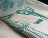 Tea Towel/Handmade/Hand-Printed Tea Towel/Classic Egg Beater Motif/Aqua/Maine Made/FREE SHIPPING