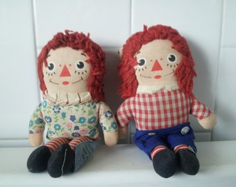SET OF 2 Vintage Mini Raggedy Ann and Andy Dolls by Knickerbocker