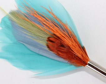 "Men's Lapel Pin, Feather Boutonniere, Hat Pin Brooch ""Tropics"" - green, aqua, orange, blue feathers with silver toned pin base"