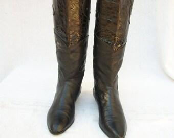 50% Off Sale 80s Black Leather Knee Boots size 7 Croc Lizard Studs Snakeskin Rocker Boots