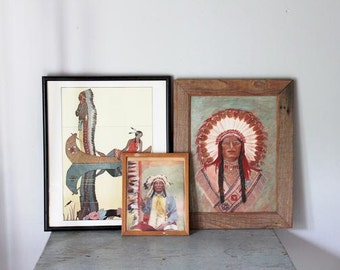 vintage Indian Chief painting on canvas