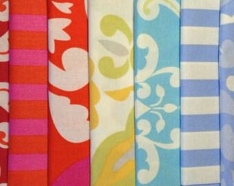 Taza Fabric, Dena Designs Fat Quarter Bundle of 7 FQ's, geometric, Euro, Scandinavian, European Modern