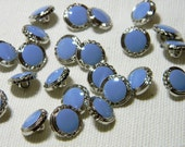 """Decorative Sky Blue and Silver Buttons Set of 12 - 1/2"""" with Shanks"""