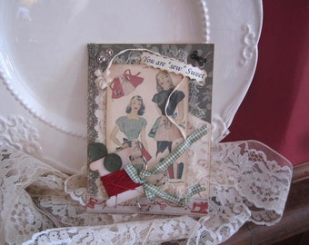 Sewing-themed Card - Victorian Seamstress Card - Vintage-style Card for Seamstress