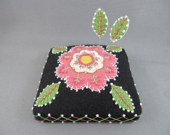 SOLD Handmade Needle Cushion Felted Wool Pink Blossom Pin Cushion