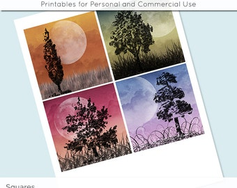 "Moonlight Trees 3.8"" x 3.8"" Square and 4 x 4 Inch Digital Collage Sheet C0009 for Gift Tags Coasters Magnets Scrapbooking JPG"