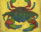 Blue Crab Art, Original Collograph Print, Seaside Art, Sealife Art - Blue Crab on Yellow 16