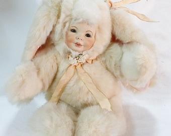 Vintage porcelain plush bunny kid face sandra william creations