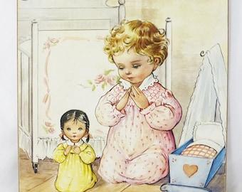 Vintage wall plaque home decor children praying little girls spiritual
