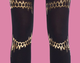 Solaris tattoo black and gold leggings, available in S-M L-XL