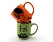 Mr and Mrs Frankenstein Monster and Bride of Frankenstein mugs set of two great wedding gift