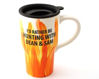 Supernatural - Supernatural travel mug - home and living - Hunting with Dean and Sam - Winchester brothers - Halloween