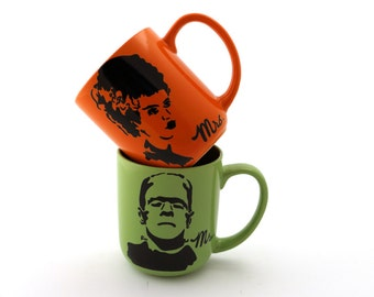 Mr and Mrs Frankenstein Monster and Bride of Frankenstein mugs set of two great wedding gift