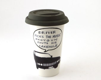 Supernatural driver picks the music travel mug, porcelain double walled eco cup with grey flexible lid