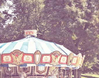 Carousel Photography, Merry Go Round, Boston Photography, Summer Park Boston Common, Red White Blue, Americana, Dreamy photograph
